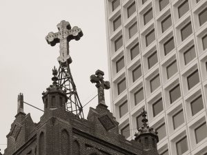 cross atop Old St. Mary's Church in Chinatown