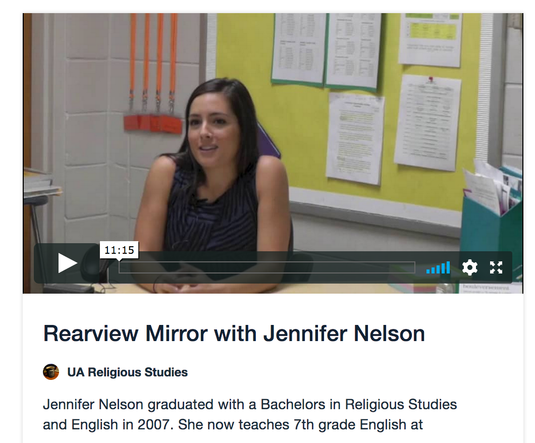 "screenshot of a video ""Rearview Mirror with Jennifer Nelson"""