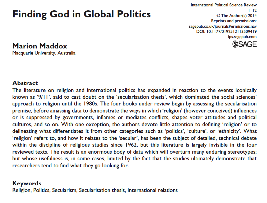 largely invisible no more  studying religion in culture the australian scholar marion maddox has written an interesting review  essay for the international political science review get a free pdf of the  article