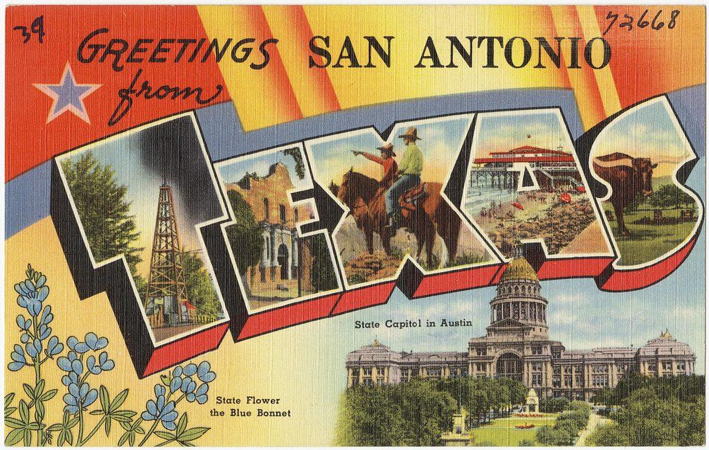 "Postcard reading ""Greetings from San Antonio, Texas"""