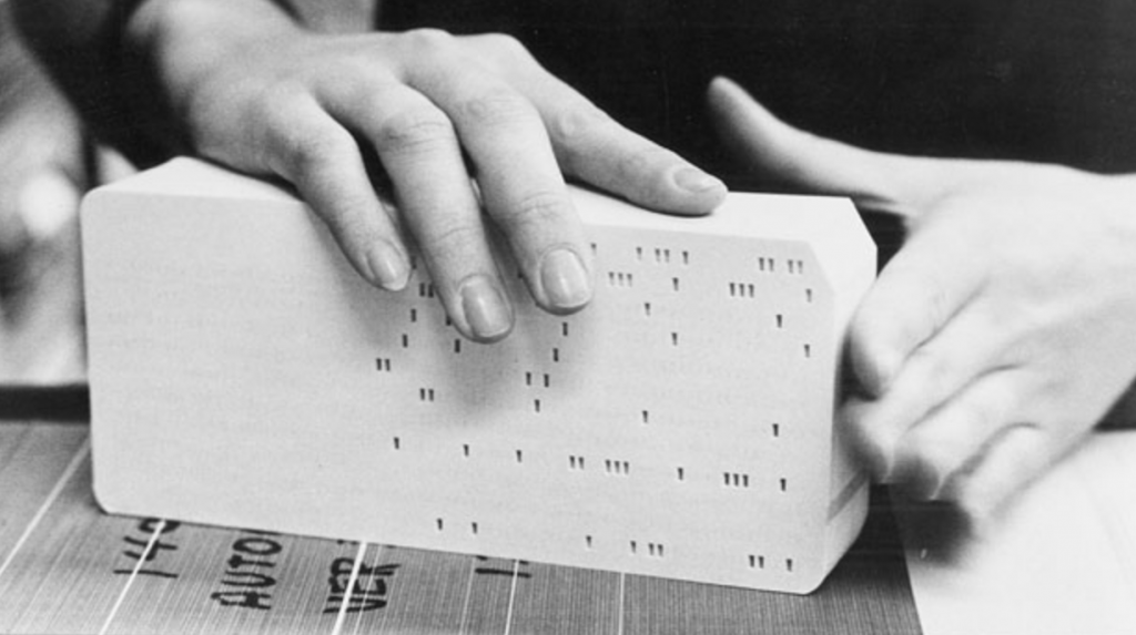 Photo of old computer punch cards