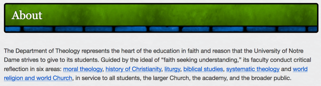 Description of Notre Dame's Theology Department