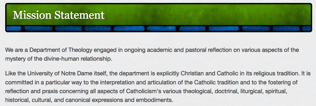 Nortre Dame Theology Department Mission statement