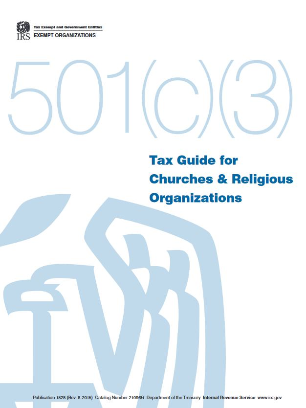 Cover of the IRS tax code for churhces