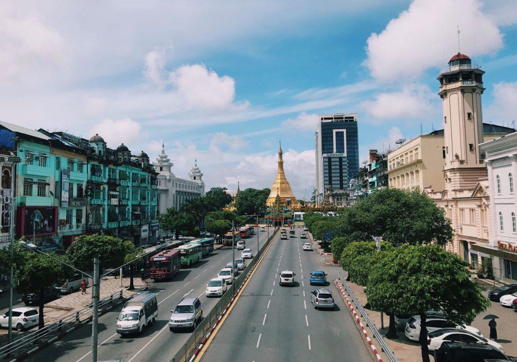 Street view of Shwedagon Pagoda in Yangon, Myanmar.