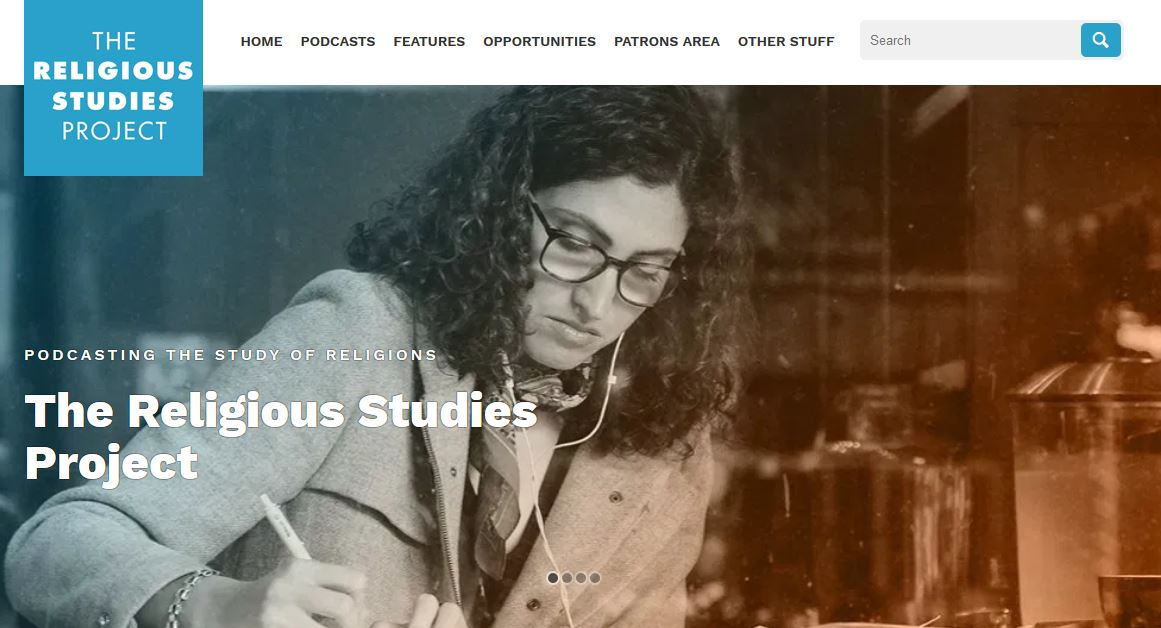 Screenshot of the front-page of the Religious Studies Project website.