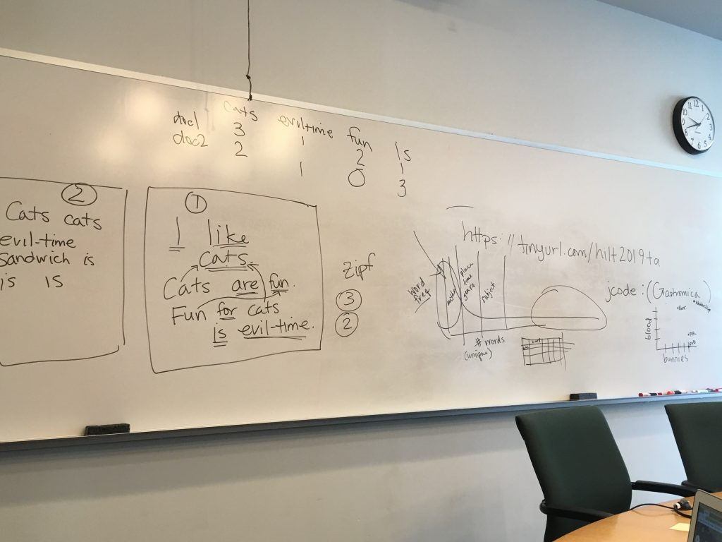 whiteboard with writing about R modelling
