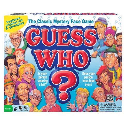 Guess Who: The Classic Mystery Face Game. People are trying to guess identities based upon cartoon facial features.