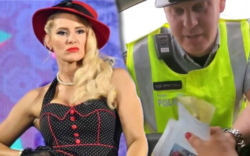 A collag with WWE superstar Lacey Evans and a police officer handing her a speeding ticket.