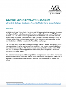 cover page from religious literacy guidelines