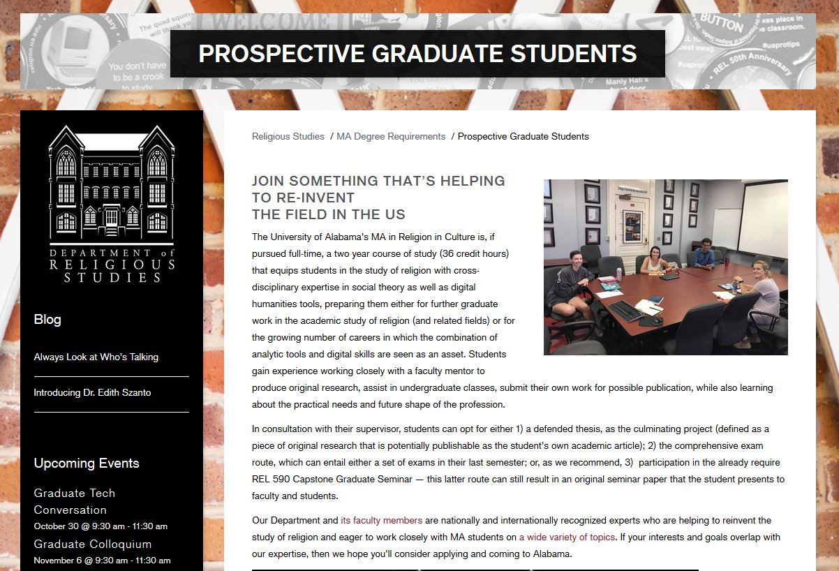 Photo of the department webpage for prospective MA students