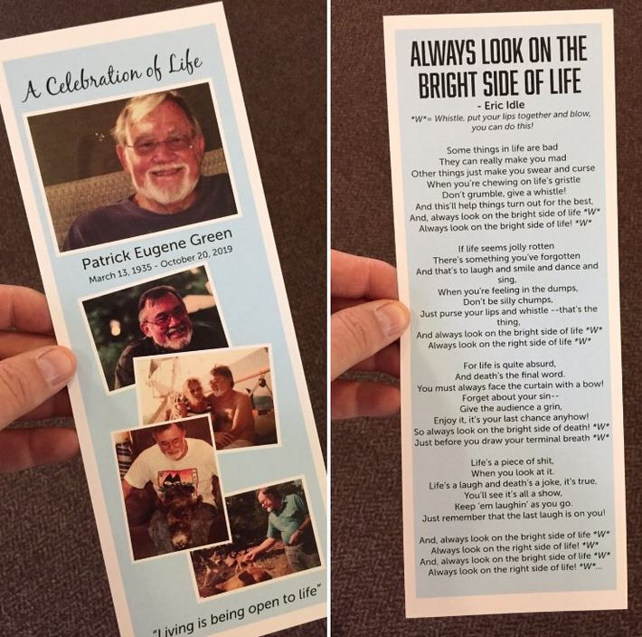 cards distributed at Patrick Green's memorial service, with photos from his life and the lyrice to Always Look on the Bright Side of Life printed on the back