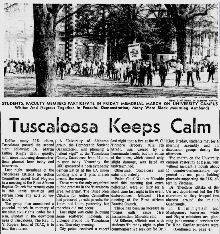 Article from the Tuscaloosa News, on campus protests, on April 6, 1968