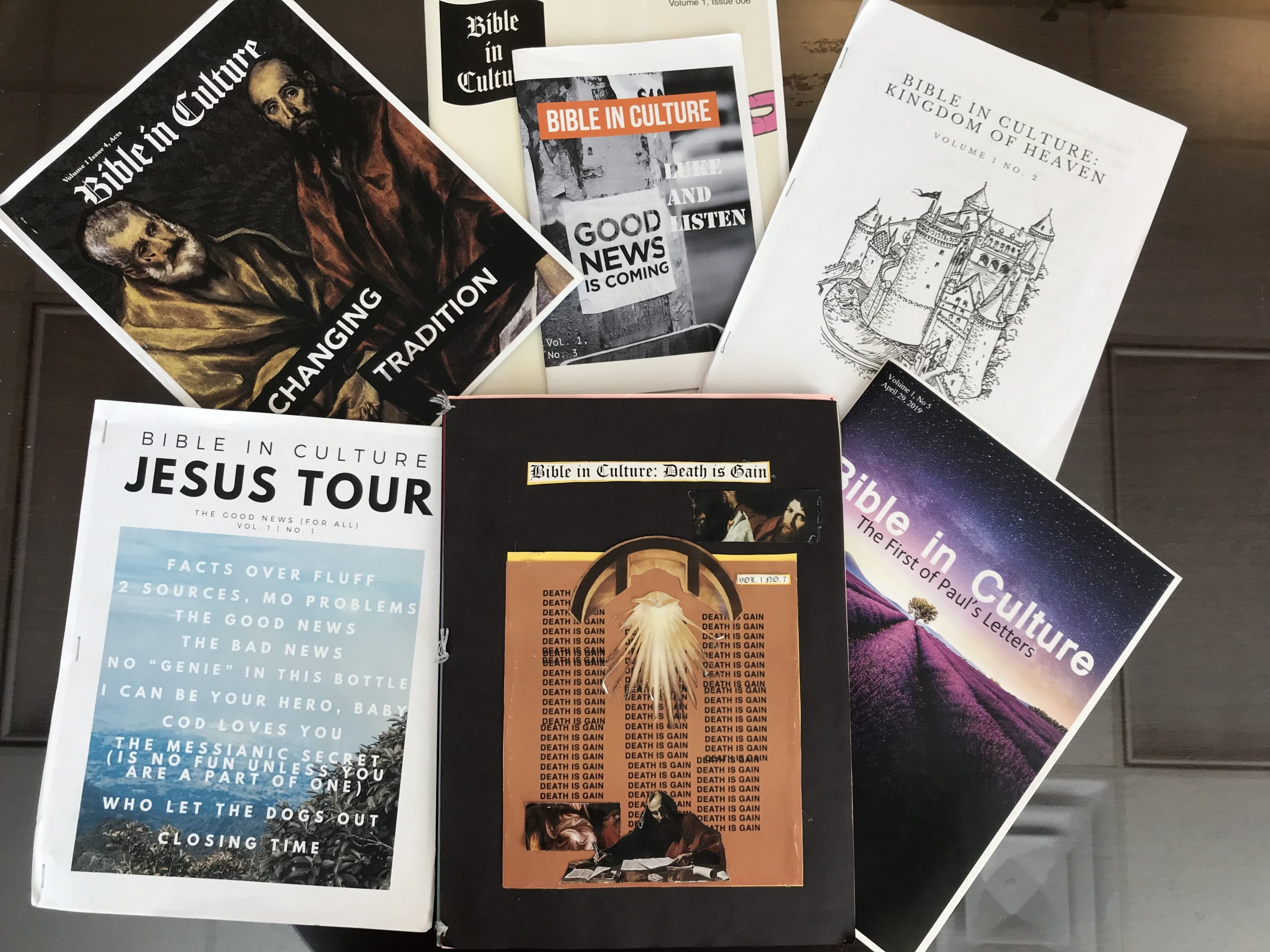 Six zine covers created by students.