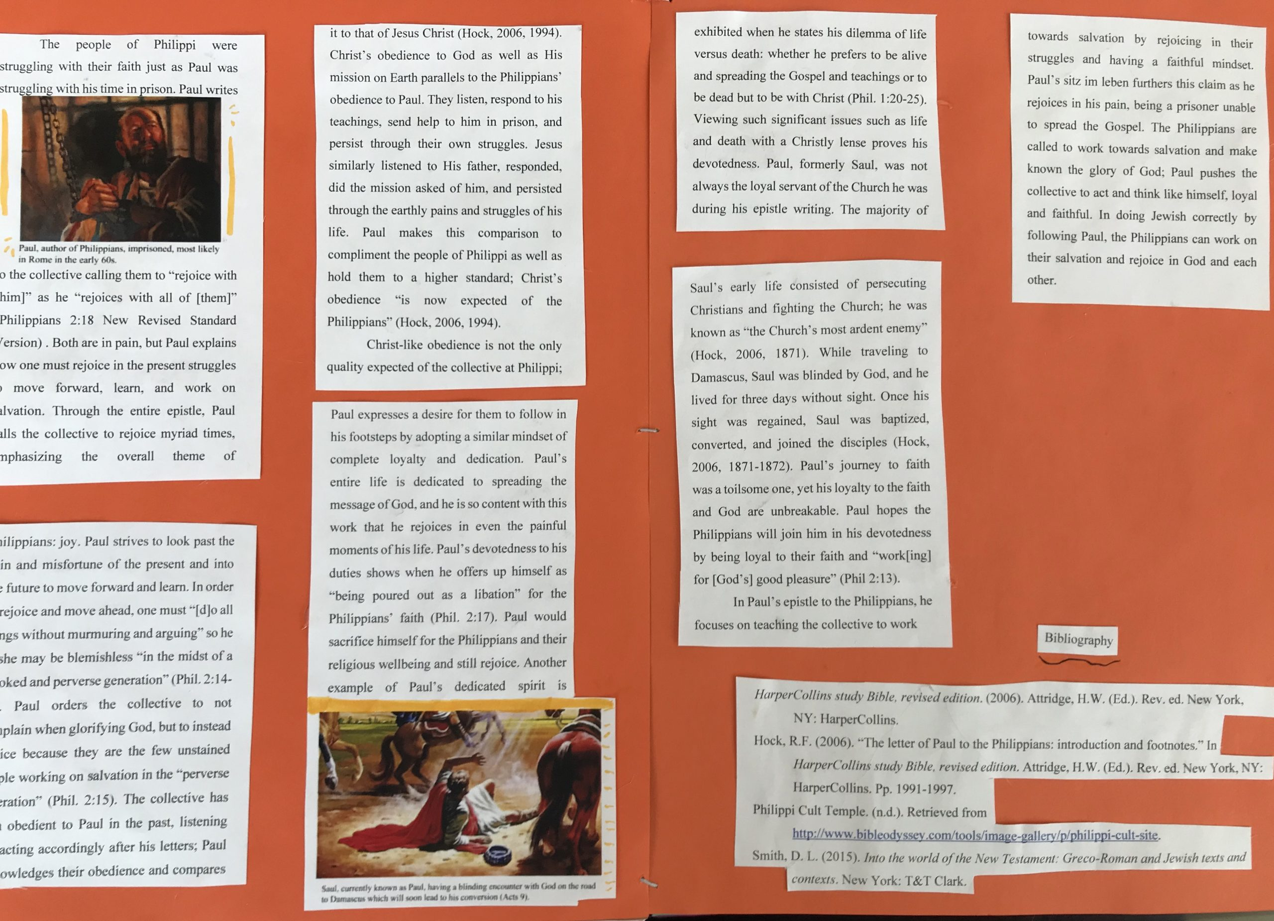 A zine-spread with text boxes pasted to construction paper.
