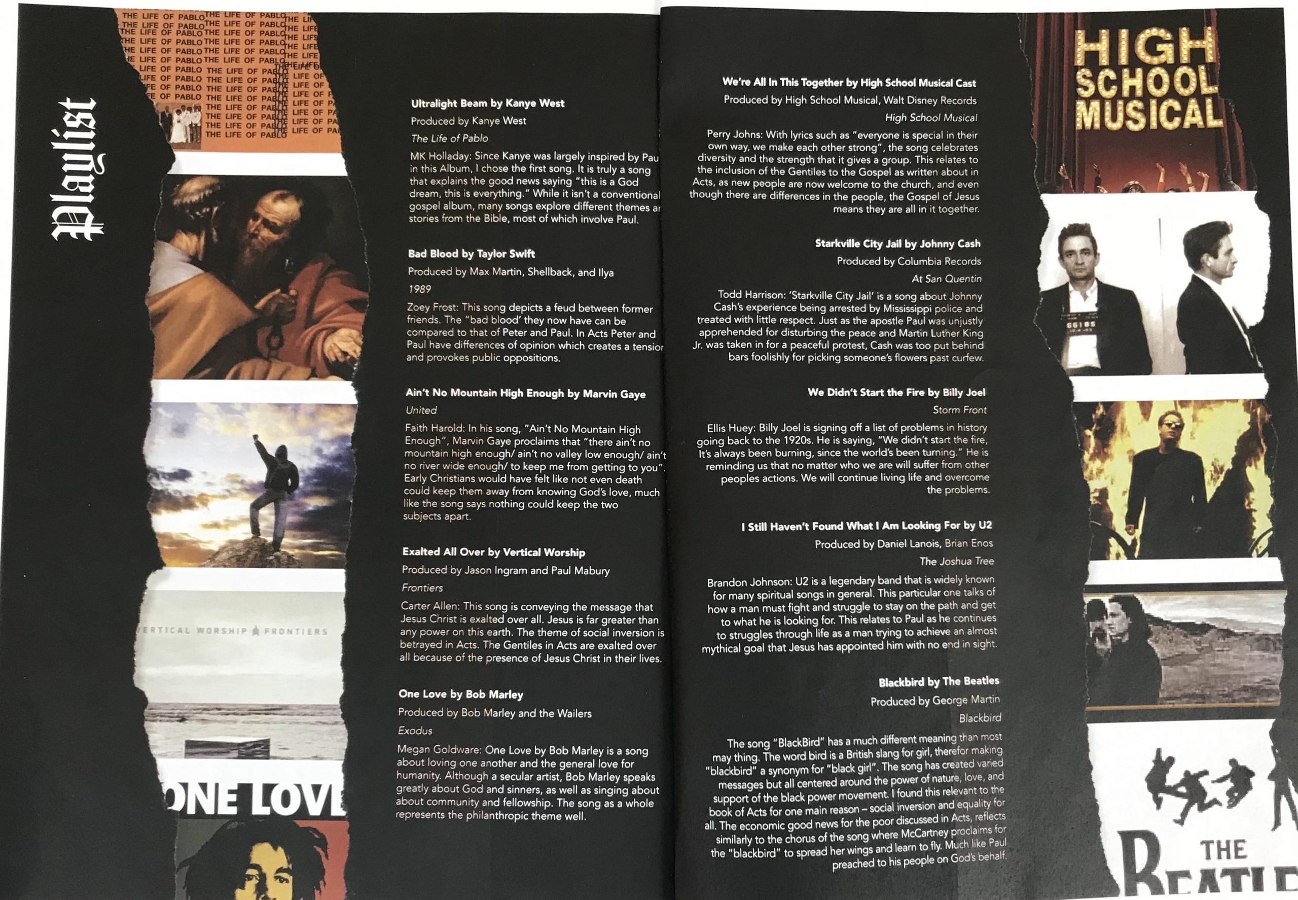 Magazine Spread with a soundtrack of songs and album covers.