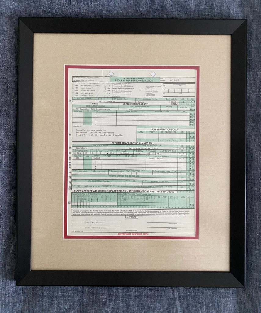 Framed document for Donna Martin's retirement gift