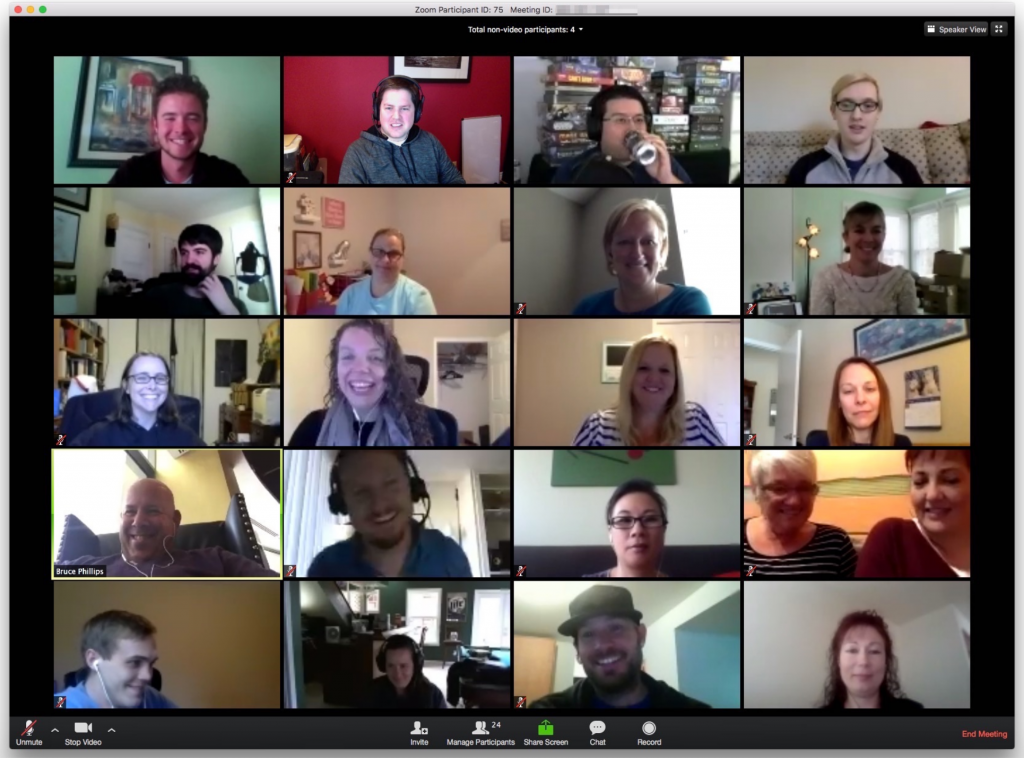 Screenshot of computer screen during Zoom videoconference, with many participants