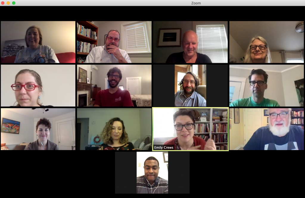 Screenshot of faculty and staff teleconference session