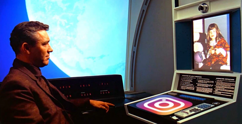 Video-conference call scene from the movie 2001: A Space Odyssey