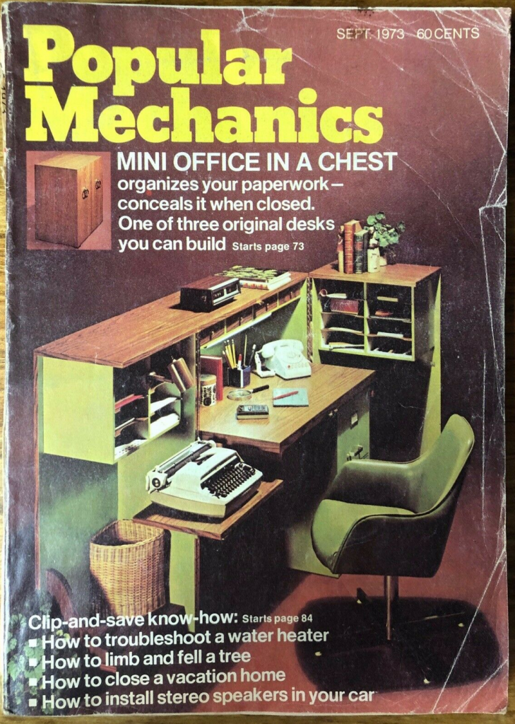 Popular Mechanics magazine cover from the 1970s with home office pictures