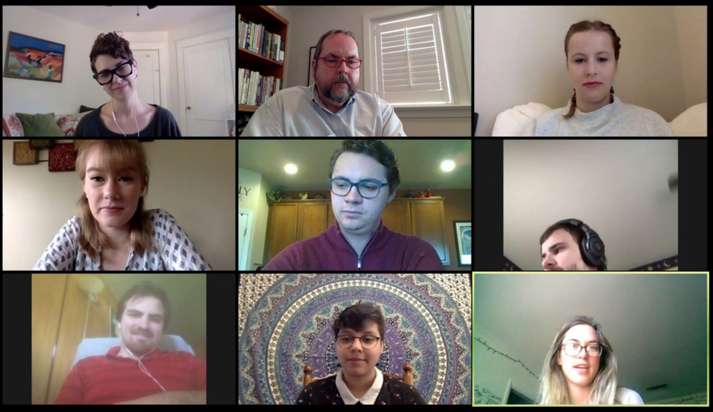 Screenshot of Zoom meeting with incoming MA students