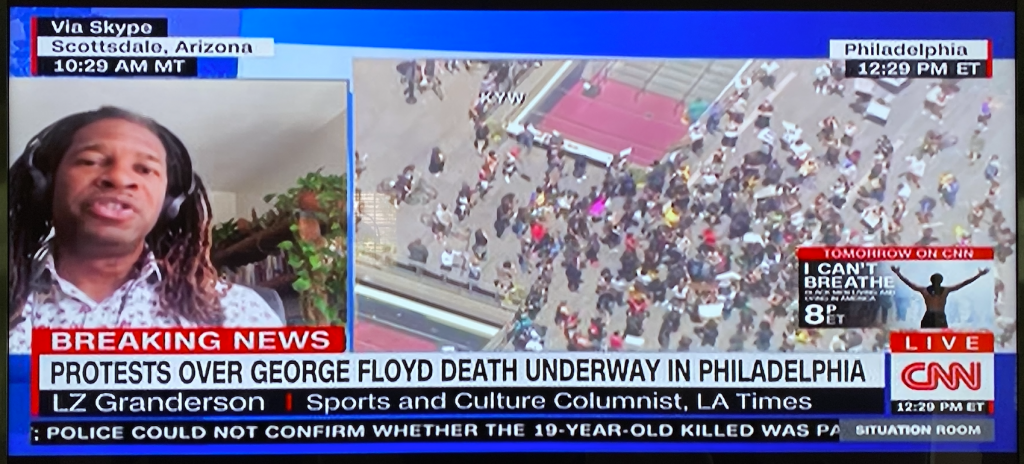 Screen shot of CNN broadcast in the wake of nation-wide protests following George Floyd's death at the hands of police.