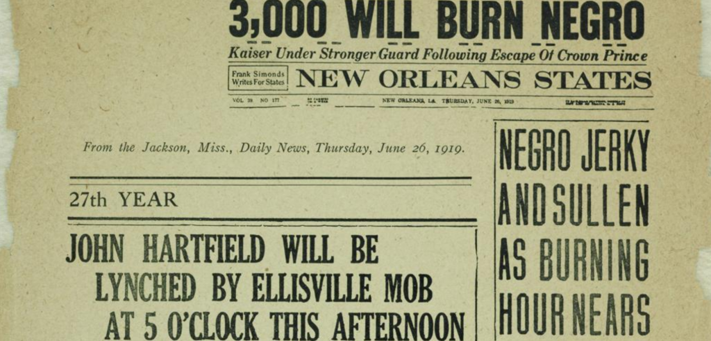 Historical newspaper headlines about lynchings taking place