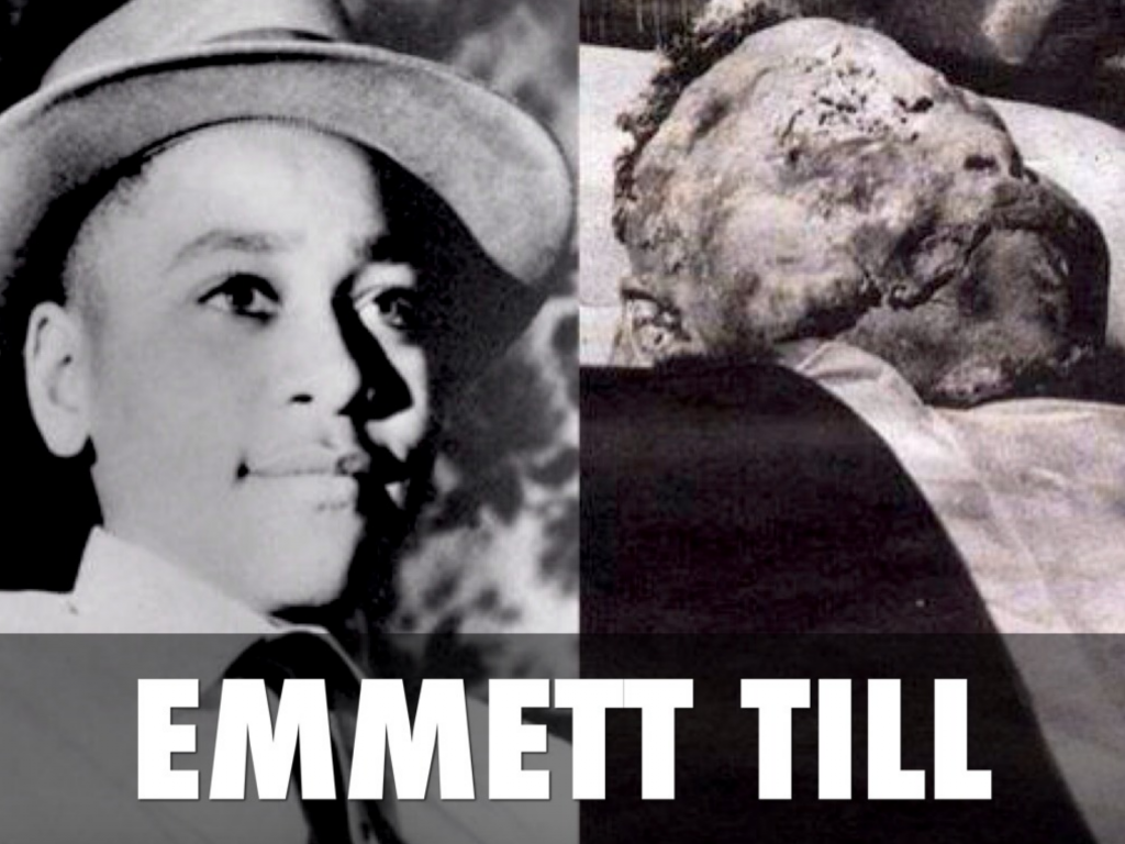 Historical photo of Emmett Till alive and then in his coffin after being murdered, terribly disfigured.