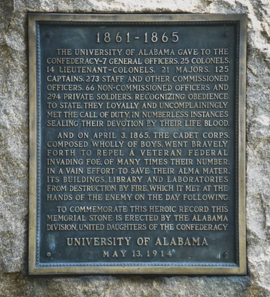 Historical 1914 plaque honoring UA's contributions to the Confederacy that was removed from front campus in June 2020
