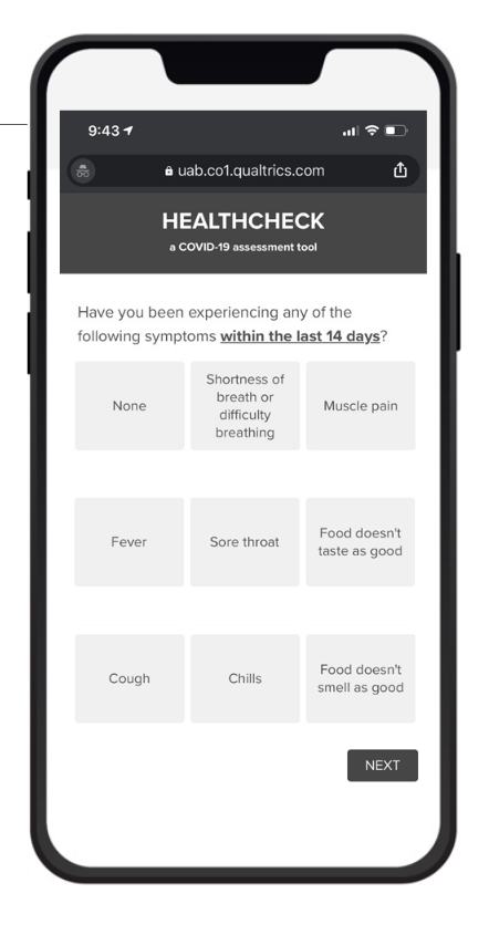 Sample image from self-reporting healthcheck app.