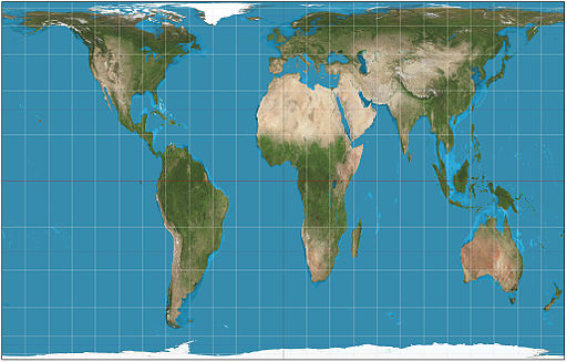 Gall Peters Projection map of world