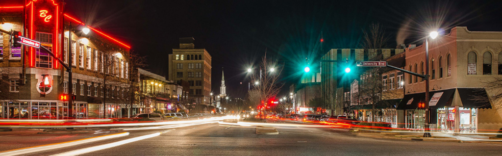 Downtown Tuscaloosa at night
