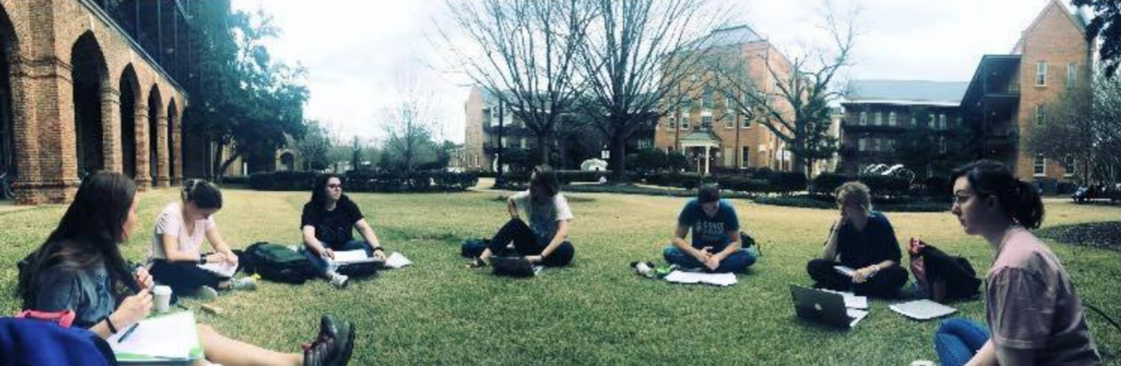 Students having class outside