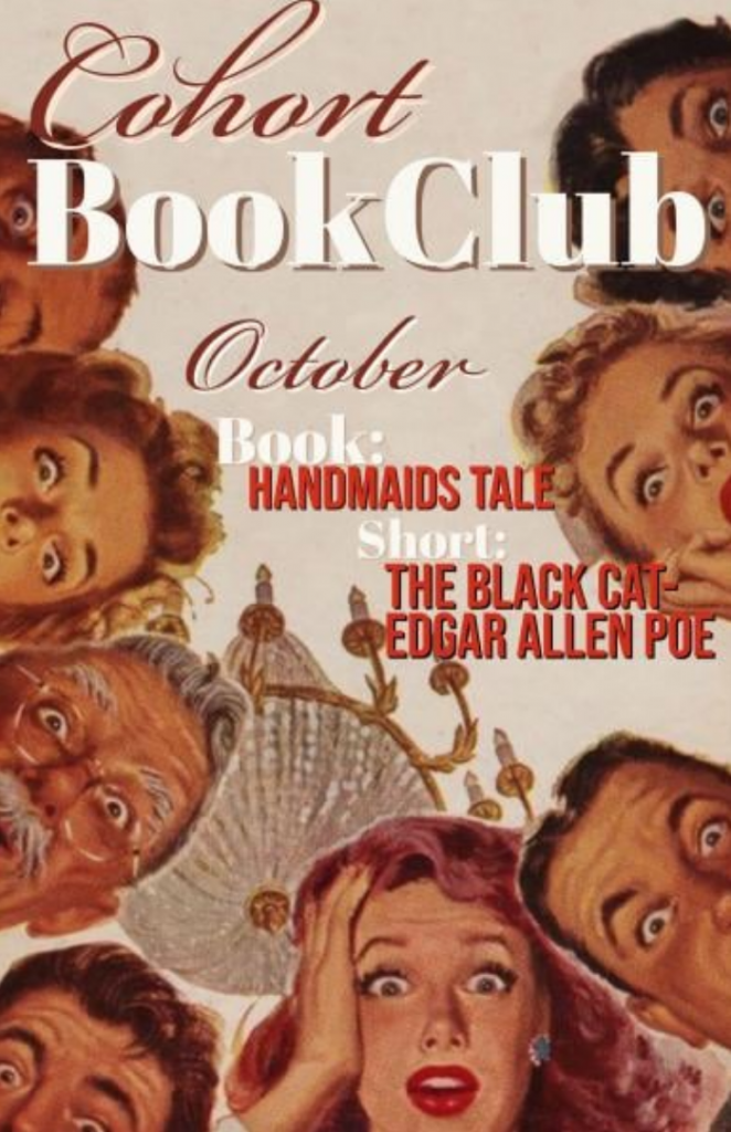 Flyer for October's book club reading: The Handmaid's Tale