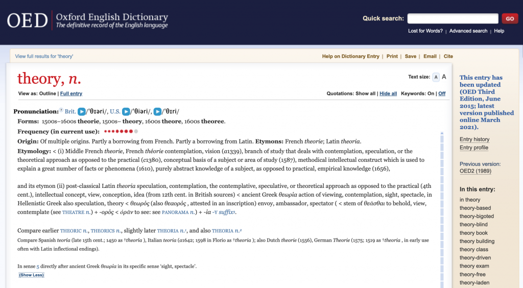 Screen shot from the online OED's definition of the word theory