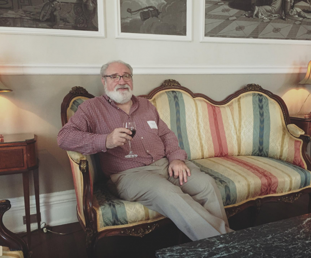 Prof. Steve Jacobs seated at the University Club in 2017