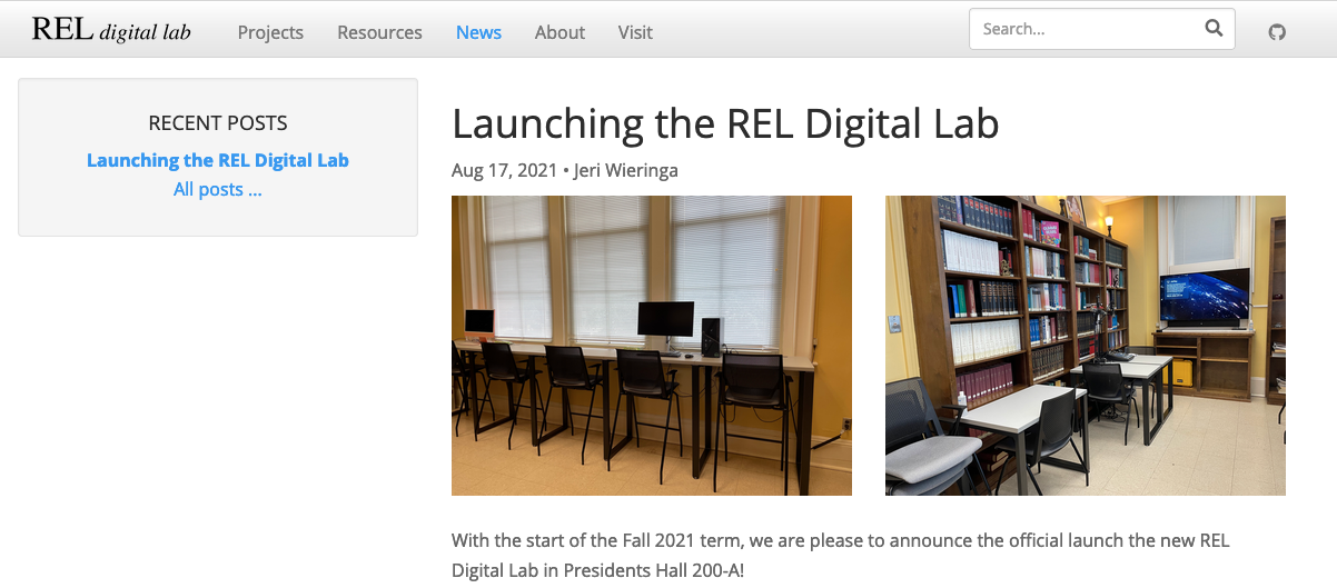 Annoucement of the REL Digital Lab on new website.