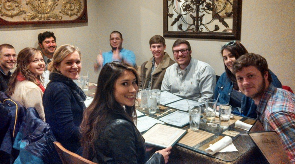A group of students out for dinner