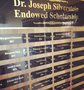 Dr. Joseph Silverstein Endowed Scholarship plaque