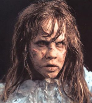 actor Linda Blair in full demon possession makeup for the movie The Exorcist