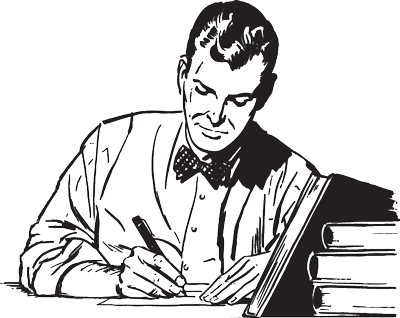 an illustration of a man writing next to a stack of books