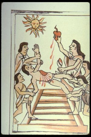 Aztec Sacrifice. Post-Conquest Nahua Painting, c. 1560.