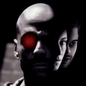 Bruce Willis with a glowing red eye, from the film 12 Monkeys