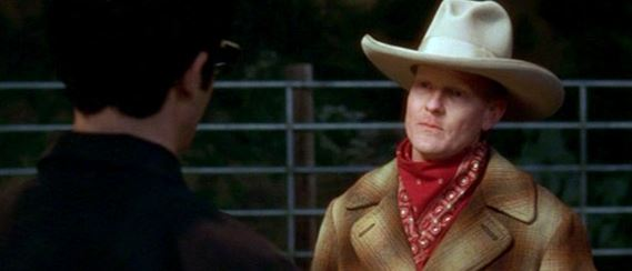 still from the cowboy scene of the movie, Mulholland Drive