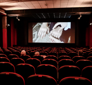 Two people seated in a movie theater watching a film