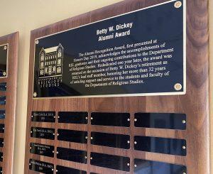 Bettty Dickey Alum Recognition Award plaque