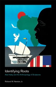 book cover, featuring a face in profile, a map of Africa, and a ship.